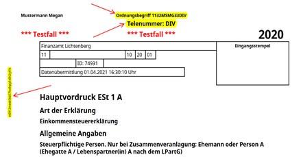 Eine elektronisch übermittelte Einkommensteuererklärung (Est 1A) anhand eines Testfalles. Ordnungsbegriff, Telenummer und Transfernummer sind gelb markiert.